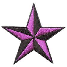 Purple Nautical Star Symbol US Navy Disco Superstar Biker Iron-On Patches #0766