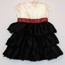 "Gymboree ""Merry Occasions"" Ivory Red Black Tiered Ruffled Holiday Dress, 12-18 m"