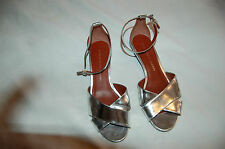 Marc by Marc Jacobs Metallic Silver Tone Ankle Strap Sandals Shoes Size 36 1/2