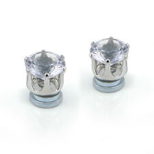 CLIP ON Magnetic Earrings Clear Faux No Piercing Womens Earring Stud  SILVER HS