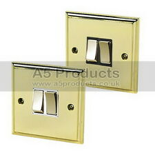 10 Amp Double Light Switch 2 Gang 2 Way Polished Brass (Gold Effect) Victorian