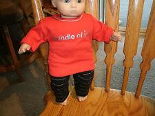 "Handmade Bitty Baby Girl  black/silver striped pants/red ""bundle of joy"" tee 512"