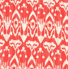 "Indian Ikat Design Cotton Kantha Stitch Cushion Cover- Red stonewash-20""/50 cm"