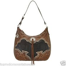American West Heart of Gold Hobo Tote Handbag Purse Chocolate Leather
