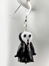 Scream Ghost Halloween Earrings Lampwork Glass Holiday Spooky Handmade Dangle
