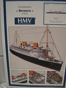 Schnelldampfer Bremen Passagierschiff Kartonbausatz NEU Bastelbogen Kartonmodell