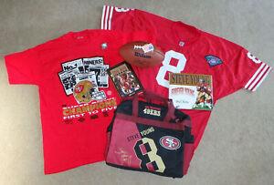 SAN FRANCISCO 49ERS STEVE YOUNG LOT BOOKS JERSEY T-SHIRT DUFFEL BAG FOOTBALL