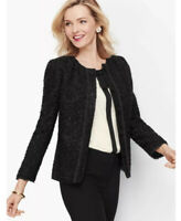 TALBOTS RSVP Embellished Tweed Black Jacket Women's Size 2 $199 NWT