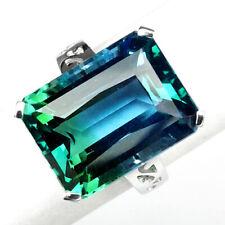 AMETRINE BI COLOR BLUE GREEN OCTAGON 18.40 CT. 925 STERLING SILVER RING SZ 6.75