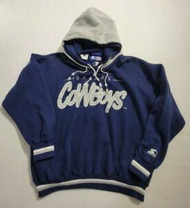 Vintage Starter Dallas Cowboys Hoodie With Double Hood  Sleeve Hit Size Mens LRG