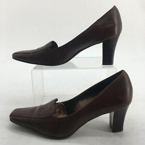 Anne Klein iFlex Womens 6.5M Obelia Loafer Dress Pumps Brown Leather High Heels