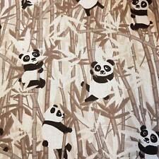 Stoff Baumwolle Meterware Panda Bambus braun Baby Zoo Kleiderstoff Dekostoff