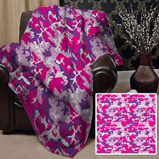 Large Warm Sofa Fleece Throw Pink & Purple Camouflage Design Blanket Cover