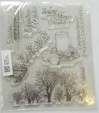 BNIP Clear Unmounted Stamp Set Christmas Trees Candle Reindeer