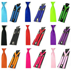 Men Fashion Satin Skinny 5CM Tie Necktie Y-shape Elastic Suspenders Brace Set