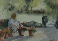 William G Perkins (British 20th Century) Rosie potting up Watercolour Signed
