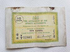 Straits Settlements 10 cents 1920 banknote