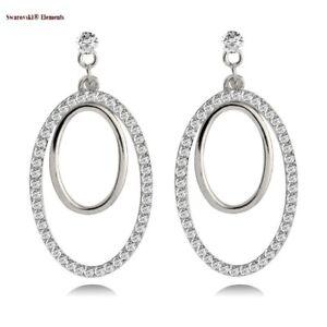Boucles doreilles cr/éoles ovales /à charni/ère en or jaune 14 carats serties de diamants
