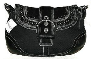 new COACH signature Black Stitched Flap Hobo Handbag Purse classic buckle nwt