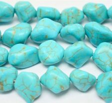 Turquoise Howlite Nugget Green 15mm,20mm Beads 15 inches