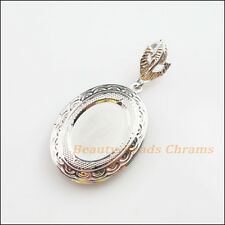 1Pc Dull Silver Plated Oval Picture Locket Frame Charms Pendants 23.5x30mm