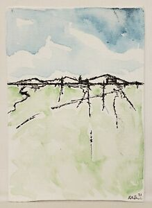 Original Modern Minimal Contemporary Landscape Drawing By K.A.Davis