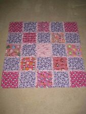 "HANDMADE  HELLO KITTY PINK AND PURPLE  COTTON  RAG  QUILT 36"" X 36"""