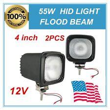 2X 4INCH 55W HID XENON LIGHTS FLOOD BEAM OFFROAD Fog Lights 12V UTE ATV