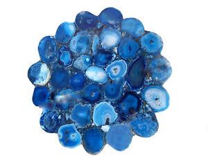 Blue Agate Unique Center/Corner Coffee Table Top Precious Stone Handmade Decor