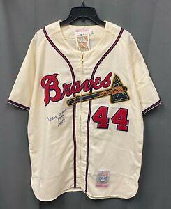 "Hank Aaron "" 1957 NL MVP "" Signed Braves Mitchell & Ness Jersey Sz L PSA/DNA COA"