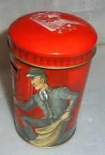 Vtg Red Metal Tins Post Office Coin Bank Can Churchill's