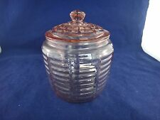 Vintage Anchor Hocking BLOCK OPTIC Pink Biscuit or Cookie Jar With Lid