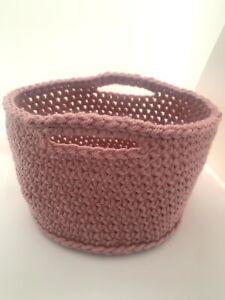 Blush Pink Basket Crochet Handmade Bedroom Bathroom Vegan Home Decor Storage