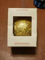 Vintage 1981 Hallmark Glass Ornament Keepsake Merry Christmas