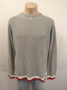 ZANONE Italy Designer Pullover Gr.54 Rippstrick 100% Baumwolle Grau  creme Rot
