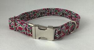 Handmade Liberty Fabric Dog Collar 100% Cotton Fabric (matching lead available)