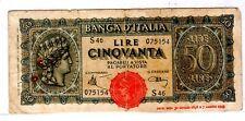 Italie ITALY ITALIA Billet 50 LIRA 1944 1896  WWII P74 BON ETAT