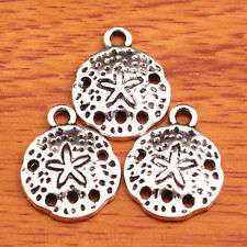 30 Pieces 16*12mm Charms Round Starfish Jewelry Making Bracelet Silver 7522H