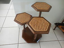 THREE TIERED DISPLAY TABLE OR POT PLANT STAND CANE & WOOD 47 CM TALL