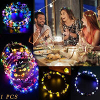 Wedding Xmas Party Crown Flower Headband LED Light Up Hair Hairband Garlands
