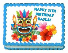 HULA HAWAIIAN TIKI party edible cake image cake topper - personalized free!