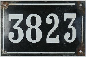 Large old black French house number 3823 door wall gate plate enamel metal sign