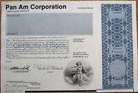 SPECIMEN Stock Certificate: PanAm / Pan American World Airways / Pan Am Corp.