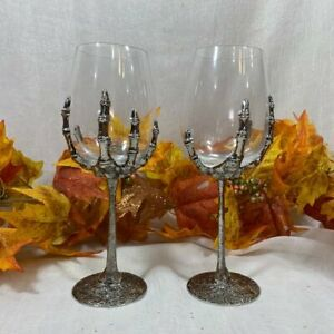 Halloween Gothic Skeleton Hand Wine Glass Goblet Silver Metal Stemmed 2 New