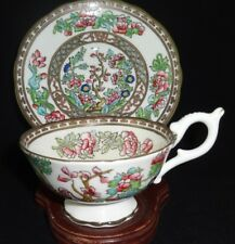 Coalport China Indian Tree Multicolor Semi Scalloped Footed Cup & Saucer Set