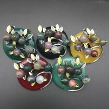 Round Brooch Female Agate Stone Scarf Buckle Broches Leaf Badge Womens Pins