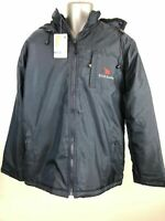 MENS PROMO STARS NEW FOREST NAVY BLUE PADDED ZIP UP HOODED WINTER COAT LARGE L