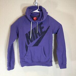 Nike Hoodie Womens Small Rally Sportswear Big Swoosh Workout Pullover Purple