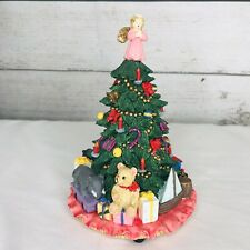 """Vintage Christmas Tree Music Box """"Oh Christmas Tree"""" Hand Painted Cold Cast"""