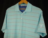 Adidas Men's Blue White Stripe Climacool Golf Short Sleeve Polo Shirt M